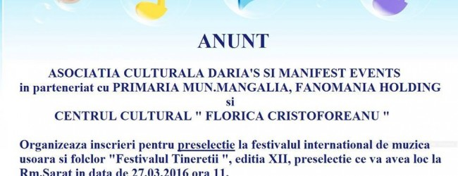 """Preselecții Festivalul internațional de muzică ușoară și folclor """"Festivalul tinereții"""""""