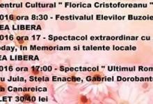"""Programul Centrului Cultural """" Florica Cristoforeanu """" în următoarea perioadă"""
