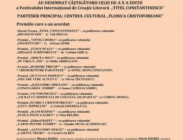 """FESTIVALUL INTERNATIONAL DE CREATIE LITERARA """"TITEL CONSTANTINESCU"""""""