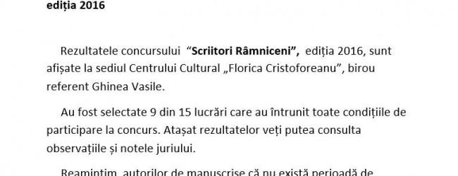 """În atenția participanților la concursul """"Scriitori Râmniceni"""", ediția 2016"""